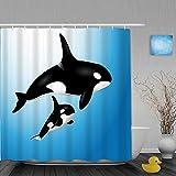 Lieteuy Cortina de baño Repelente al Agua,Orca Familia Madre y Bebé Natación Océano Niños Paternidad,Cortinas de baño de poliéster de diseño 3D con 12 Ganchos