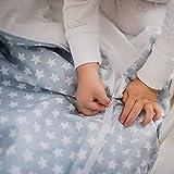 Saco Nórdico con Cremallera y Ajustable evita que se Destapen por la Noche. Funda Nórdica para Cuna Bebé o Cama Incluye Relleno (Gris, Cuna 60x120)