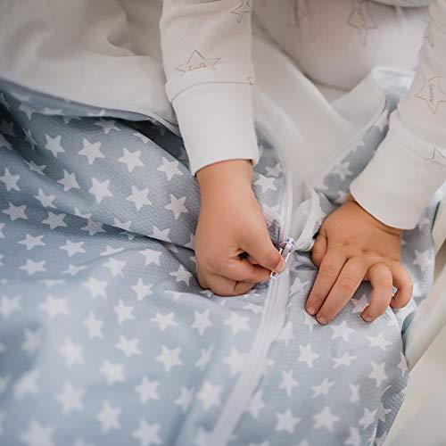 Saco Nórdico con Cremallera y Ajustable evita que se Destapen por la Noche. Funda Nórdica para Cuna Bebé o Cama Incluye Relleno (Gris, MiniCama Ikea 70x160)