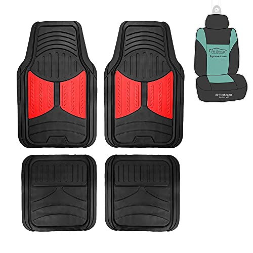 FH Group Full Set Trimmable Rubber Floor Mats, Monster Eyes (Red) - Universal Fit for Cars Trucks and SUVs