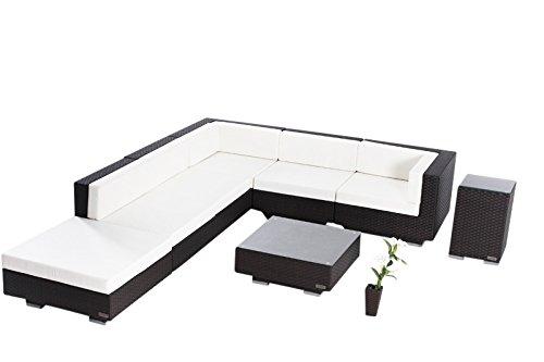 OUTFLEXX exklusives Loungemöbel Sofa Set aus hochwertigem Poly-Rattan in braun für 6 Personen inkl. angenehm weiche Polster, Kaffee- und Beistelltisch mit klarer aufliegender Glasplatte, wetterfest
