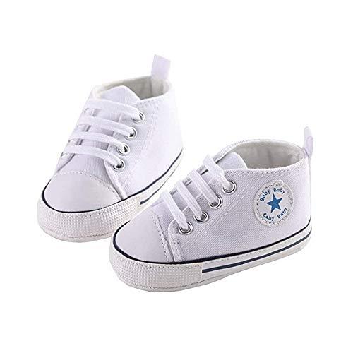 Kleinkind Kleinkind Baby Jungen Mädchen Weiche Sohle Krippe Leinwand Sneaker Neugeborene Anti-Rutsch-First Walkers Krippe Schuhe 0-18 Monate (White, 12-18 Months)