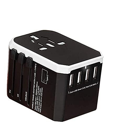 Adaptador de Corriente Universal Mundial Adaptador de Viaje International Universal Power Adaptador Todo en uno con 5 USB Cargador de Pared Mundial para Reino Unido/UE/EE. UU. / Asia Enchufe de Vi