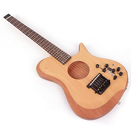 KEPOHK Guitarra eléctrica sin cabeza, acústica, silenciosa, izquierda, derecha, viaje, Mini portátil, efecto incorporado, mano derecha
