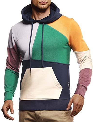 Leif Nelson Herren Hoodie Pullover mit Kapuze Kapuzenpullover für Männer Pulli Longsleeve Sweatshirt Langarm Slim Fit LN8341; Größe M, Dunkel Blau