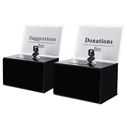 """KYODOLED Acrylic Donation Box with Lock,Ballot Box with Sign Holder,Suggestion Box Storage Container for Voting, Raffle Box,Tip Jar 6.1"""" x 4.3"""" x 3.8"""",2 Pack,Black"""