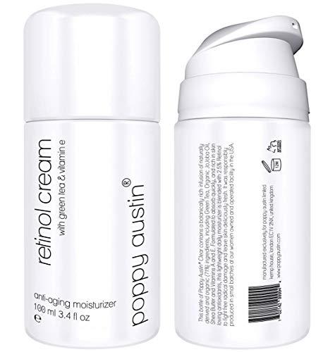 Retinol Creme für Tag & Nacht - RIESIG 100ml - Cruelty-Free & Organisch - 2,5% Retinol, Vitamin E, Grüner Tee & Sheabutter - Beste Anti-Aging-Feuchtigkeitscreme für das Gesicht & Anti-Falten-Creme
