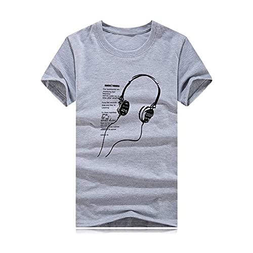 Manga Corta Hombre Verano Holgada Moderna Hombre T-Shirt Hombre Tendencia Moda Estampado Casuales Camisa Básica Cuello Redondo Suelta Cómodo Wicking Hombre Deportiva Camisa C-Grey XXL