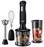 Russell Hobbs 24702 Desire 3 in 1 <span class='highlight'>Hand</span> <span class='highlight'>Blender</span> with Electric Whisk and Vegetable Chopper Attachments, Matte Black
