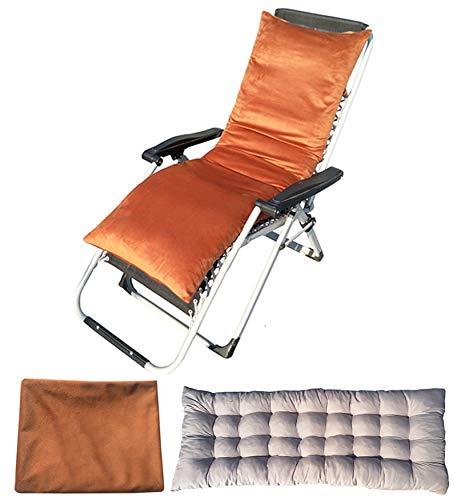 YuYiY Cojines de muebles de jardín con funda de terciopelo extraíble y lavable, cojines para tumbonas de exterior para sofá o silla reclinable (café, 48 x 155 x 8 cm)