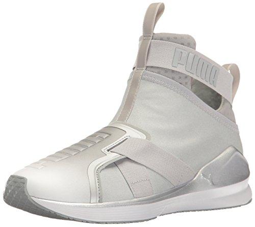 PUMA Women's Fierce Strap Metallic WN's Cross-Trainer Shoe, Silver White, 6 M US