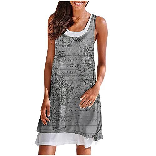 pamkyaemi Vestido de verano para mujer, elegante, largo hasta la rodilla, vestido de verano, sexy, sin mangas, cuello en U, estampado gris XL