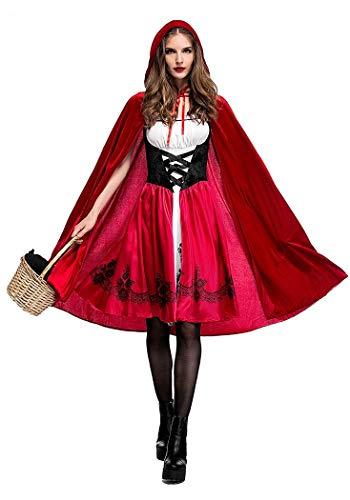Generico Costume da Carnevale Halloween Cappuccetto Rosso con Mantello Travestimento Vestito Cosplay Festa (Taglia 40-42) CP9013-M