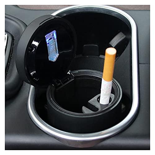 ZXZCV Ajuste para la bandeja de cenizas de coche práctica 1 PC con tapa portavasos accesorios negro coche