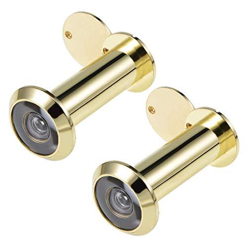 Visor de puerta DyniLao, mirilla de latón macizo de 200 grados con cubierta para puerta de 2-1/4 a 3-1/2 pulgadas de grosor, acabado dorado pulido, 2 piezas