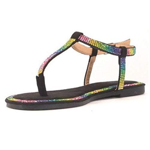 XIAOXIA Chanclas para mujer, chanclas con estrás, sandalias bohemias, sandalias planas, elegantes sandalias de playa, sandalias romanas, zapatillas de estar por casa, color Beige, talla 39 EU
