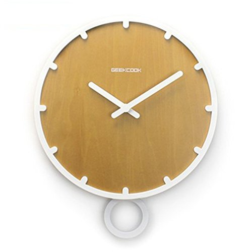 CivilWeaEU- Horloge de Style scandinave Swing Mode Salon en Bois muet Simple Horloge Moderne Pendule Horloge à Quartz (Couleur : White Box Wood Grain Surface)