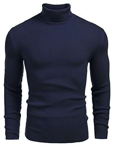 Coofandy Mens Ribbed Slim Fit Knitted Pullover Turtleneck Sweater,Large,Sapphire