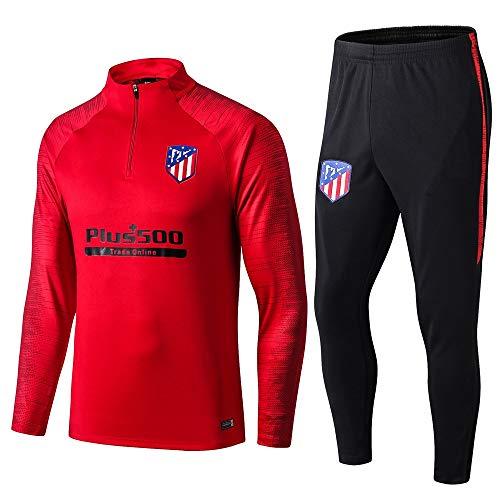 LZMX Atletico Madrid Star Football Trainingsanzug Leichtathletik-Team-Wettbewerb Sporthalb Zipper Sport Männer Fußball langärmelige Rundhalsausschnitt-Anzug (Size : XXL)