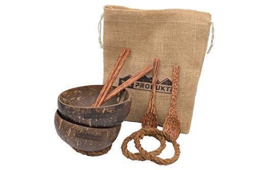 Kokosnuss Schalen 2er Set mit Löffeln + Essstäbchen + Halteringen und Jutebeutel - Coconut Bowl - Handmade Geschirr Set - Deko Schale - Buddha Bowl mit Kokosöl poliert - Vegan & Nachhaltig