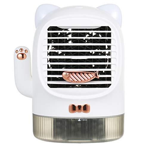 Kecheer Ventilador de aire acondicionado portátil con luz nocturna,Humidificador aceites esenciales difusor,Enfriador de aire acondicionado silencioso USB recargable