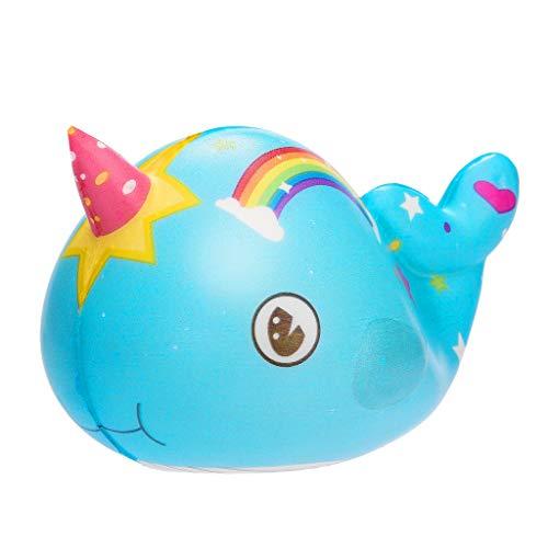 Fossrn Squishy Arcoiris Ballena Squishys Kawaii Grandes Con Olor Low Rising Squeeze Juguetes AntiestréS (Azul)