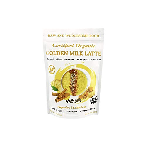 Cherie Sweet Heart Organic Golden Milk Latte   Turmeric Powder Organic Milk Instant Mix, Superfood, Coconut Milk, Cinnamon, Ginger, and Ground Black Pepper, Great in Smoothies & Recipes, 8 oz