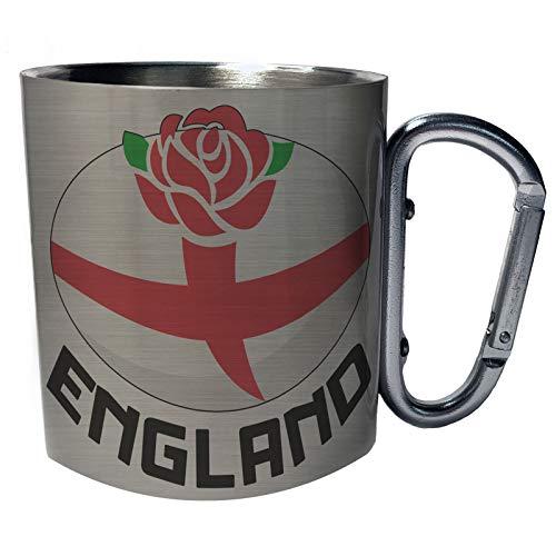 Nueva pelota inglesa de rugby inglaterra Taza de viaje mosquetón de acero inoxidable 11oz i198c