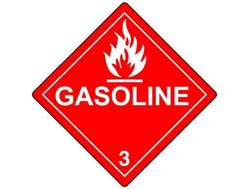 Gasoline 3 DOT Safety Label Decal, 7.5 inch Vinyl for Transportation Fuel Hazmat by ComplianceSigns