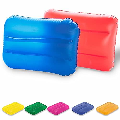 Antevia – Lote de 5 cojines hinchables de playa o camping 25 x 32 cm | Más de 20 modelos | Colchón flotador Piscina | Material: PVC | Colores: azul, amarillo, naranja, verde y morado (Egeo)