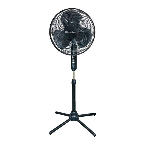Comfort Zone CZST161BTEBK 3-Speed Adjustable-Height 16-inch Oscillating Pedestal Fan with Quad-Pod® Folding Base