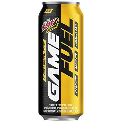 Mountain Dew AMP Game Fuel, Charged Tropical Strike, 16.9 Fluid Ounce