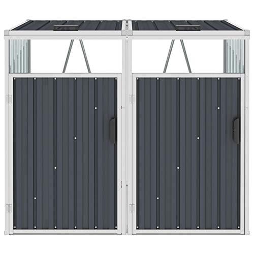 Tidyard Mülltonnenbox für 2 Mülltonnen, Schuppen Gartenschrank Metall, Gartenbox Wasserdicht, Gerätebox, Anthrazit 143 x 81 x 121 cm