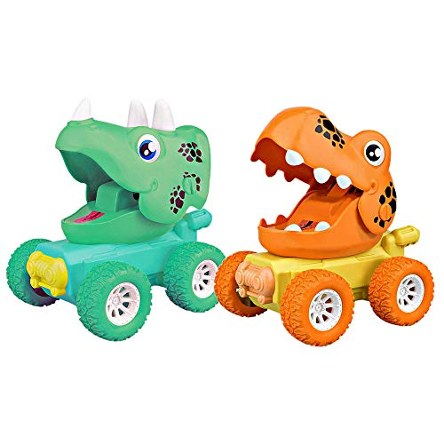 ZHFUYS Dinosaur Toy,Press Power Toy car Push and go car Toy for Kid 2-5 Year Old Dino Toy boy Girl Toy Gift,2 Pack(Wheel Color Random)