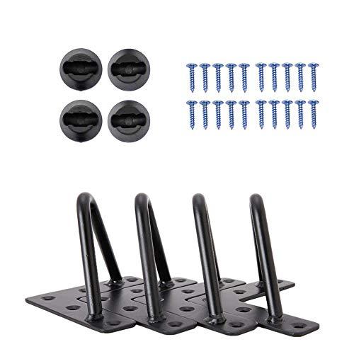 Signstek Patas de escritorio de mesa de 4 piezas, patas de muebles de hierro negro para muebles de artesanías de bricolaje Con Tornillos y Bases Protectoras (6