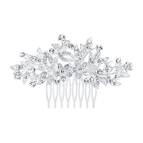 EVER FAITH Damen Haarkamm Österreichischer Kristall Simulierte Perle Hochzeit Blume Blatt Braut Haar Schmuck Klar Silber-Ton (stil7)