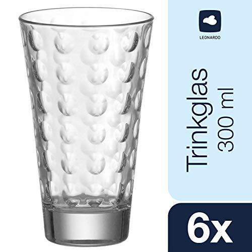 Leonardo Trinkglas Optic, Gläser-Set mit Innenrelief, Trink-Gläser in konischer Form, 300-ml Füllvolumen, 6-teilig, 012684