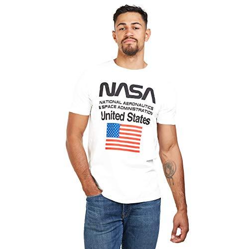 Nasa Administration Camiseta, Blanco (White White), XL para Hombre