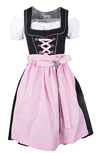 Ramona Lippert - Damen Dirndl Pia 3-teilig in rosa 40- Dirndlkleider für Jede Größe - wunderschönes Trachtenkleid - Tracht mit Schürze
