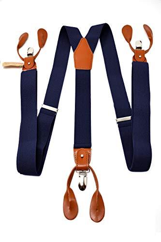 Oxford Collection Bretelle Blu Scuro di alta qualità completamente Regolabili - 3 Clip o...