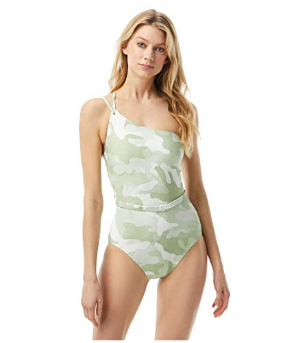 Michael Kors Camo One Shoulder One-Piece with Logo Belt and Removable Soft Cups Army Green 8
