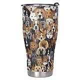 Muerlinanajj Vaso térmico de café ideal para bebidas heladas y calientes (900 ml), color blanco