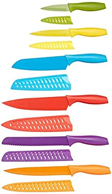 AmazonBasics 12-Piece Colored Kitchen Knife Set