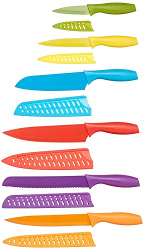 Amazon Basics - Messer-Set, bunt, 12-teilig