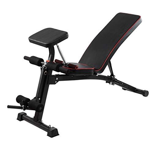 KMILE Banco de pesas para ejercicio de ejercicio con mancuernas, banco de pesas ajustable, banco de pesas multifuncional, banco de ejercicios plegable