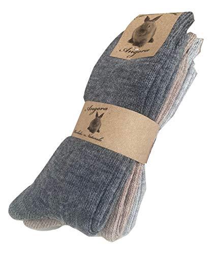 worldsocks calzini caldi in lana d 'angora per uomo e donna,calze calzini invernali per il freddo made in italy,altezza metà polpaccio.(3 pack or 6 pack) (43-46, 3 paia ass. A)