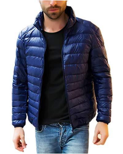 HANAKU ダウンジャケット メンズ 軽量 防風 防寒 暖かい ウルトラライト ダウン コート コンパクト収納 19YR01(4#,XL)