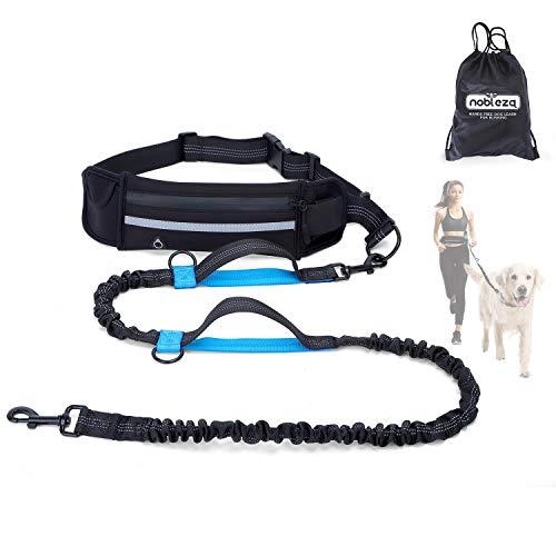 Nobleza Joggingleine für Hunde, freihändige Leine mit Gürteltasche, Handfreie Hundeleine für Laufen mit verstellbarem Hüftgurt Bungee Leine zum handfreien Joggen
