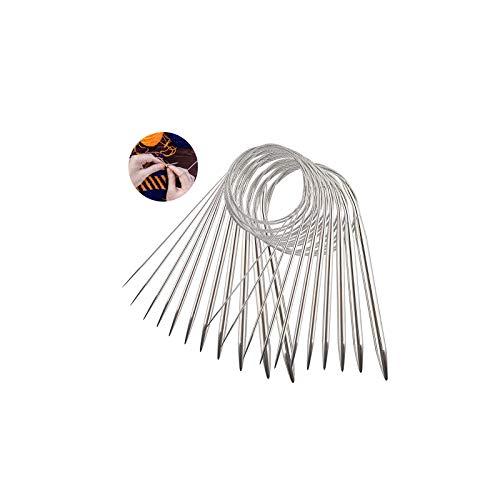 LATTCURE 11pcs Acier Inoxydable Ensemble D'Aiguilles à Tricoter Circulaires Aiguilles à Tricoter Pour Projet De Tissage -Tissage d'outils pour Débutants et Professionnels, 11 Taille: 1,6mm-5,0mm