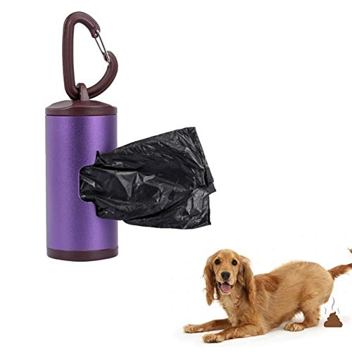 N\A Kackbeutel für Hunde, Mehrfarben Aluminium Rohr Inhalt Abfallsäcke beweglicher Haustier Poop Halter Kotbeutelspender mit Halter 15pcs (Farbe : PU)